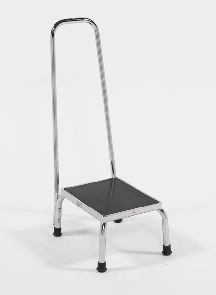 """Chrome Step Stools with 35""""H Hand Rail by Cleanroom World"""