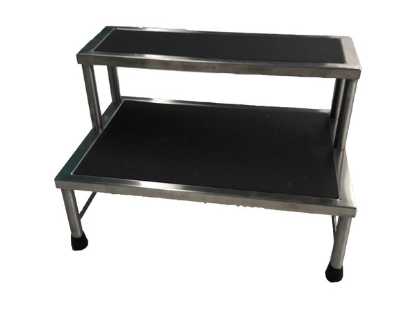 Step Stools, Stainless Steel, 2 Steps by Cleanroom World