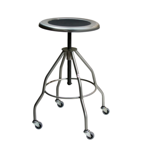 """Stainless Steel Stools; Height: 21""""-33"""", Casters, 15""""Dia Seat, Type 304 Stainless Steel By Cleanroom World"""