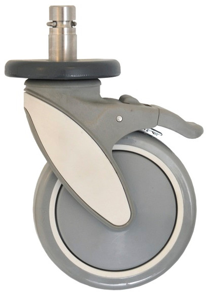 Cart Washable Casters, Corrosion Resistant, Stem/Brake by Cleanroom World