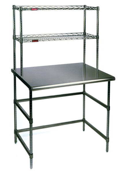 Chrome Tables, Stainless Steel Top, Chrome Base and Overshelves by Cleanroom World