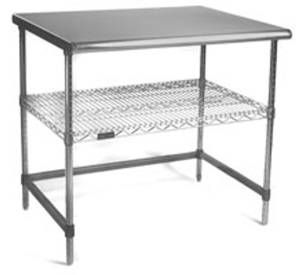 Cleanroom Tables, Stainless Steel Base, Top, Shelf and C Frame by Cleanroom World