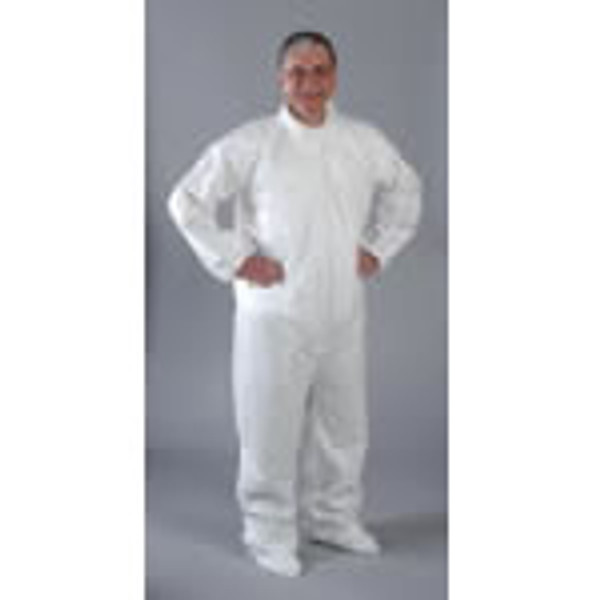 Disposable Coveralls, SMS Material, White, Attached Boots, Elastic Wrists/Ankles/Back, M-4XL by Cleanroom World