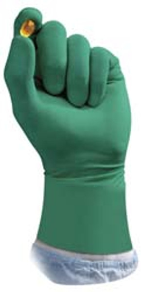 "Sterile Neoprene Gloves, Hand Specific, 14"" Long, ISO 5, Ansell Dermashield, Green, Pair Packed By Cleanroom World"