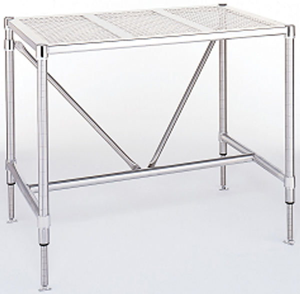 Perforated Stainless Steel Tables, Metro Tables, Type 304 Electropolished Stainless Steel by Cleanroom World