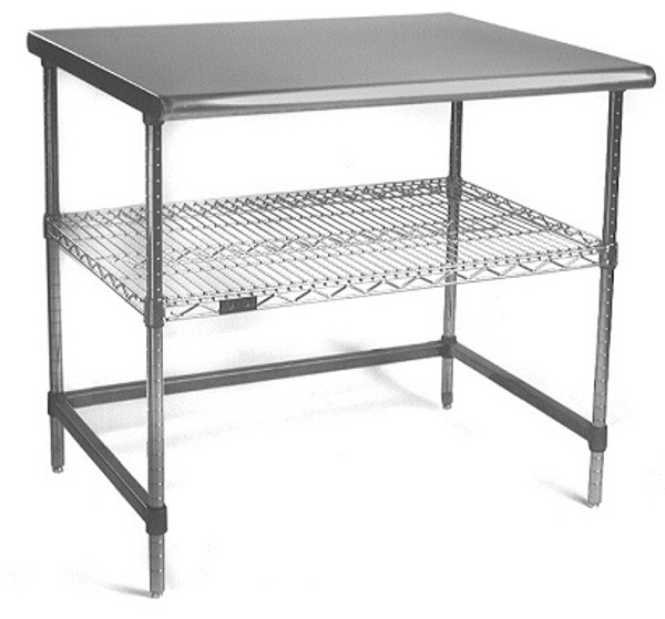 """Electropolished Perforated Tables, (1) Shelf, (1) C-Frame, 24""""x 36""""x 35""""H by Cleanroom World"""