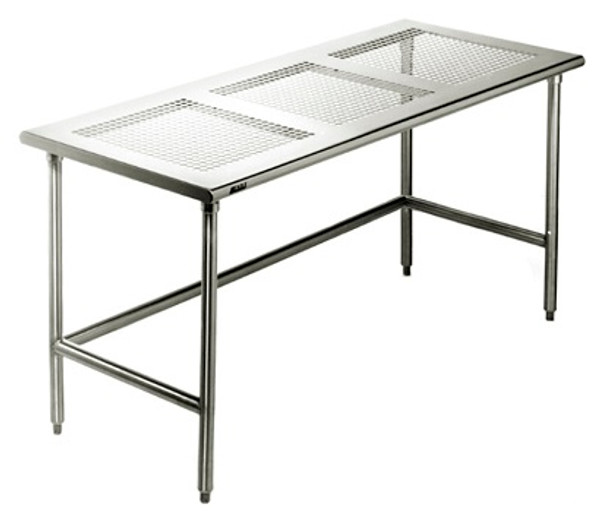 """Electropolished Perforated Tables, 2 C-Frames, 24""""x 48""""x 35""""H by Cleanroom World"""