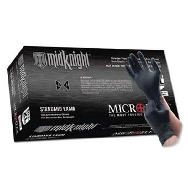 "Microflex MidKnight Exam Gloves, Nitrile, 9 1/2""Long, Powder Free, Boxed, Black, XS-2XL By Cleanroom World"