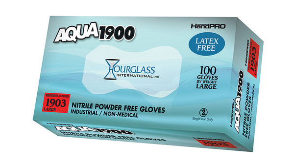 Non-Medical Gloves, Handpro, Nitrile, Aqua Color, Chlorinated, Powder Free, S-XL  HG-1900 By Cleanroom World