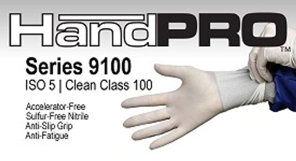 Cleanroom Gloves, HandPRO, Nitrile, Accelerator Free, Sulfur Free, Powder Free, XS-2XL By Cleanroom World