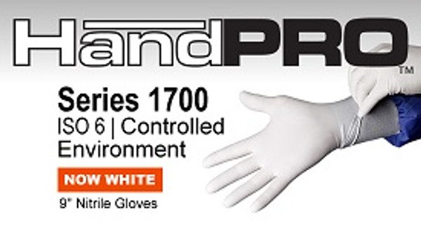 Cleanroom Gloves, Handpro, Nitrile, Ambidextrous, Micro textured, Powder Free, Beaded Cuff, XS-XL  By Cleanroom World