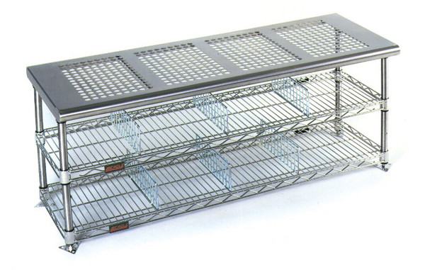 Electropolished Perforated Top Gowning Benches with Shoe Storage By Cleanroom World