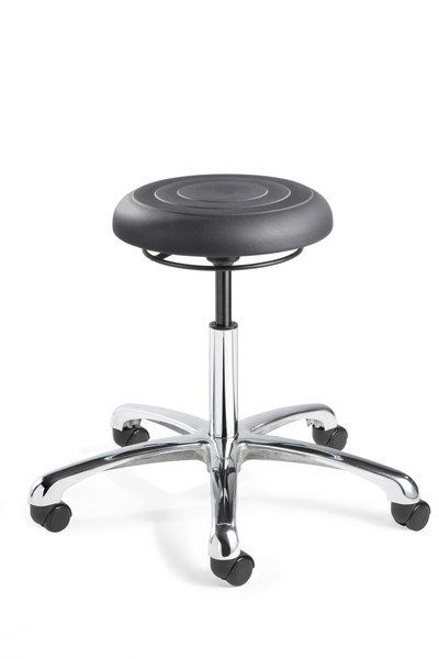 """Cleanroom Stool, ISO 4 Class 10, Seat Height: 16""""-21.5"""", Soft Polyurethane Seat, Graphite, Polished Aluminum Base, Dual Wheel Hard Floor Casters By Cleanroom World"""