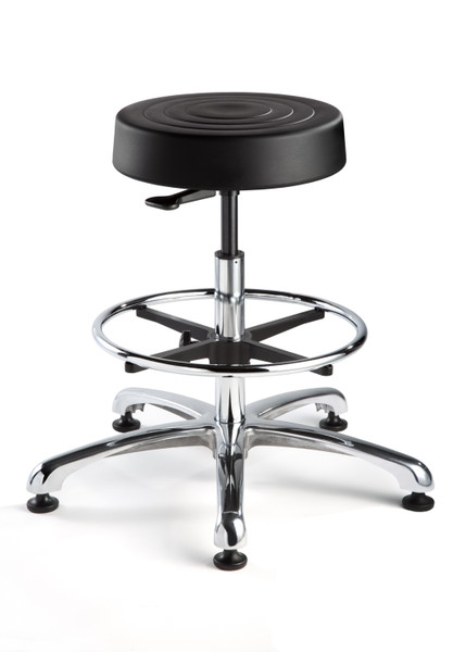 "leanroom Stool, ISO 4 Class 10, Seat Height: 23""-33"", Soft Polyurethane Seat, Black, Polished Aluminum Base, Mushroom Glides By Cleanroom World"