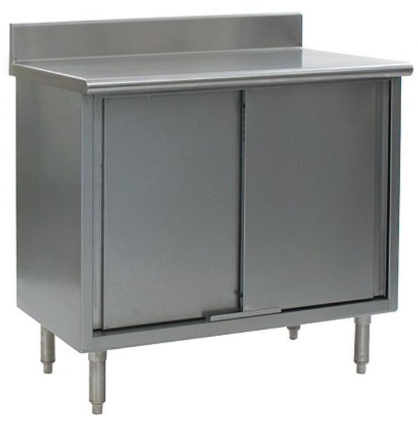 "Stainless Steel Lab Tables, 4 1/2"" Backsplash, Type 304 Stainless Steel Top, Sliding Doors, Lower Storage by Cleanroom World"