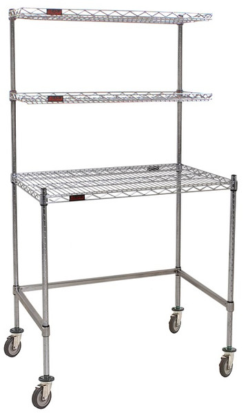 Cleanroom Tables, Eagle Table, Stainless Steel Wire Top, Overshelves by Cleanroom World