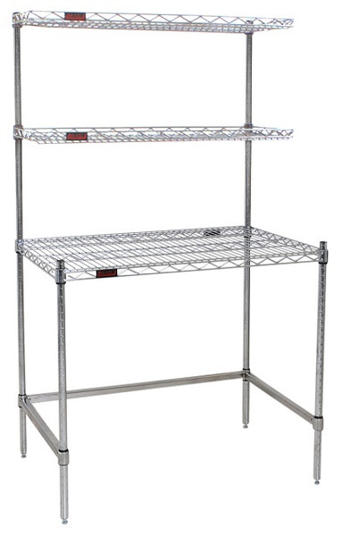 Cleanroom Tables, Eagle Tables, SS Wire Top, 2 Overshelves by Cleanroom World