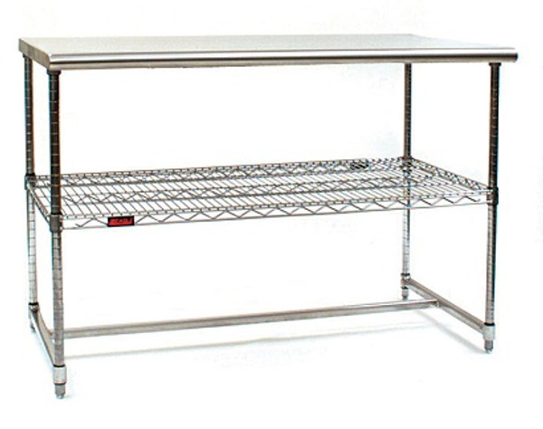 Cleanroom Tables, Stainless Steel Top, Chrome Frame by Cleanroom World