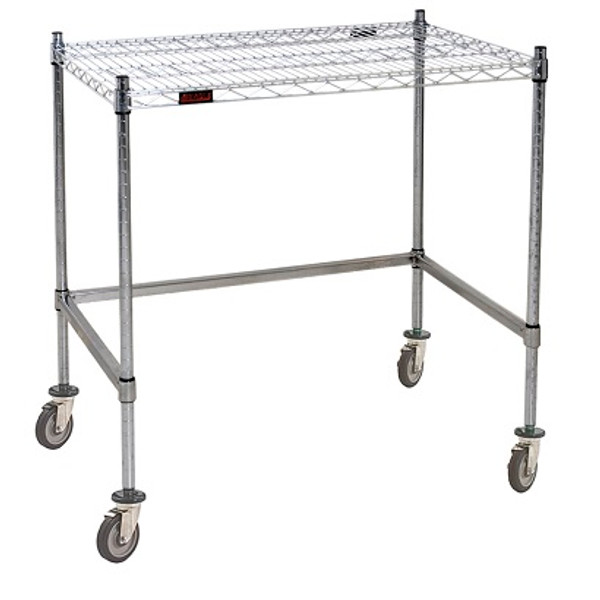 Cleanroom Tables, Casters, Stainless Steel Wire Top, Stainless Steel Base by Cleanroom World