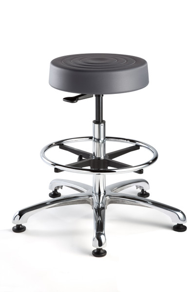 """Cleanroom Stool, ISO 4 Class 10, Seat Height: 23""""-33"""", Soft Polyurethane Seat, Graphite, Polished Aluminum Base, Mushroom Glides By Cleanroom World"""