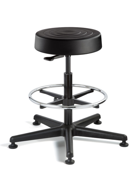 "Cleanroom Stool, ISO 4 Class 10, Seat Height: 23""-33"", Soft Polyurethane Seat, Black, Black Nylon Base, Mushroom Glides By Cleanroom World"