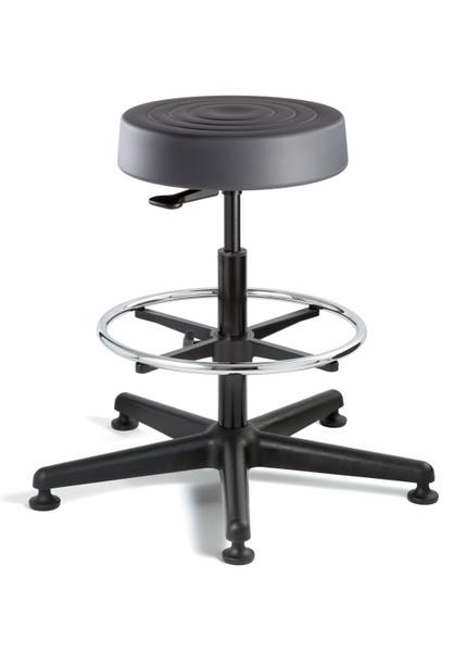 "Cleanroom Stool, ISO 4 Class 10, Seat Height: 23""-33"", Soft Polyurethane Seat, Graphite, Black Nylon Base, Mushroom Glides By Cleanroom World"