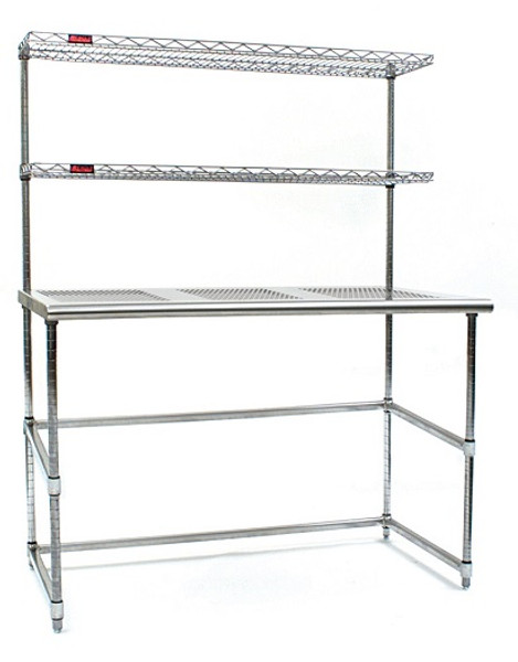 Cleanroom Tables, Perforated Stainless Steel Top & Base, Cantilevered Shelves by Cleanroom World
