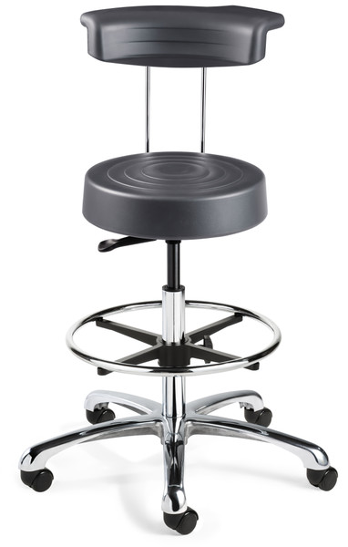 Cleanroom Stool w/ Backrest, Chrome Footring, Graphite By Cleanroom World