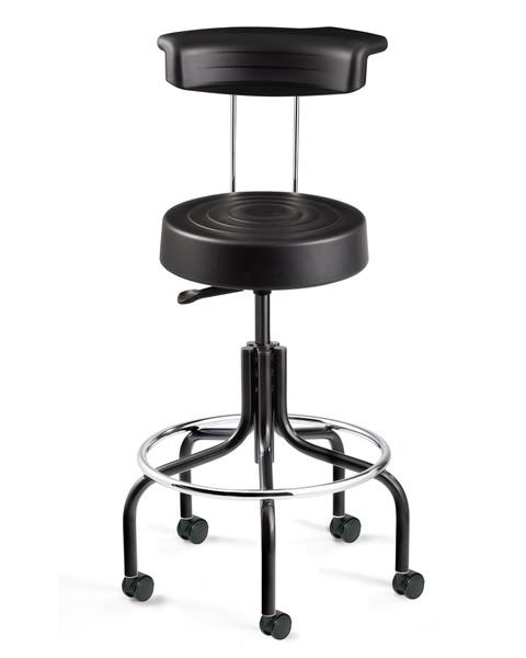 Cleanroom Stool w/ Backrest, Black, Chrome Footring, Black Tubular Base, Caster By Cleanroom World