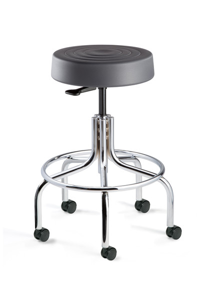 """Cleanroom Stool, ISO 4 Class 10, Seat Height: 20.5""""-25.5"""", Graphite Polyurethane Seat, Chrome Footring & Tubular Base, Dual-Wheel Hard Floor Casters By Cleanroom World"""