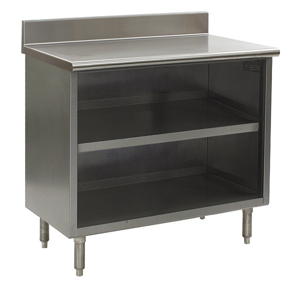 Stainless Steel Lab Cabinets, Backsplash, Open Base w/Shelf, Type 304 Stainless Steel by Cleanroom World