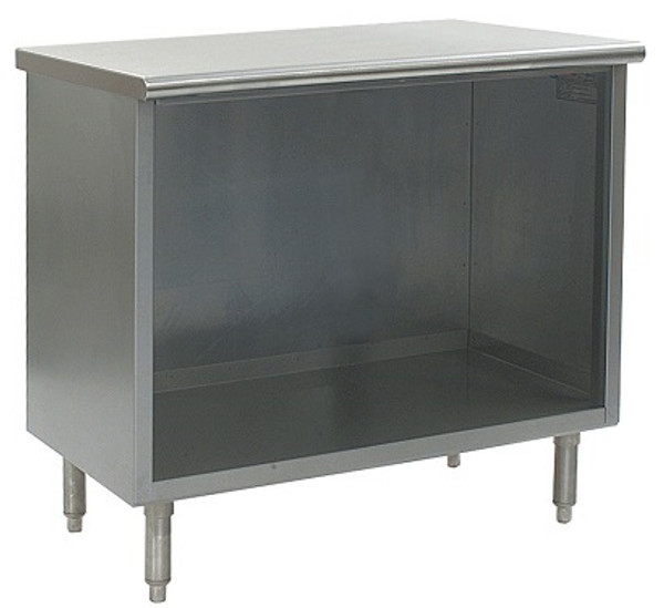 Stainless Steel Lab Cabinets, Flat Top, Type 304 Stainless Steel, Open Base w/ Shelf By Cleanroom World