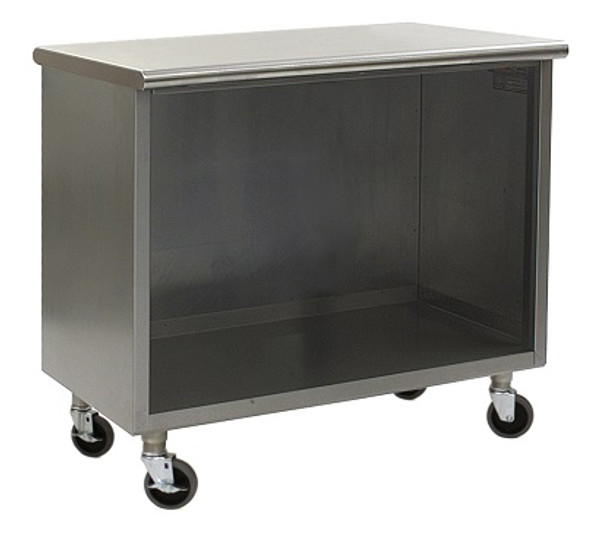 Stainless Steel Lab Cabinets, Flat Top, Wheels, Type 304 Stainless Steel, Open Base Lower Storage By Cleanroom World