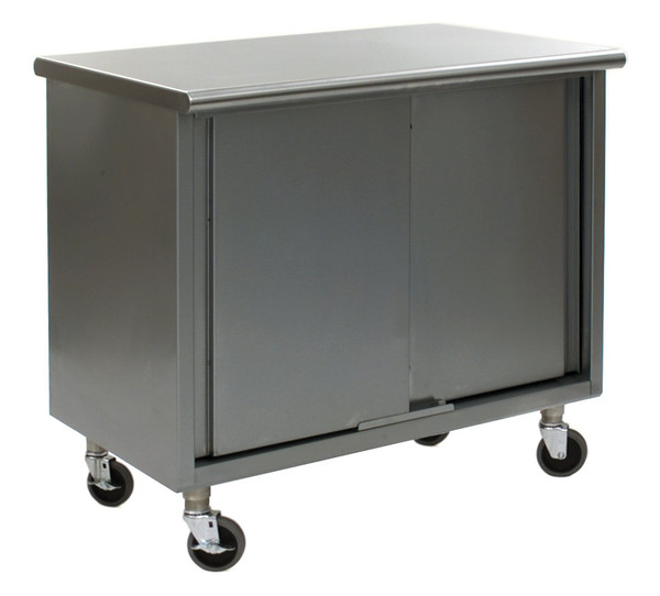 Stainless Steel Lab Tables, Flat Top, Wheels, Sliding Doors, Lower Storage By Cleanroom World