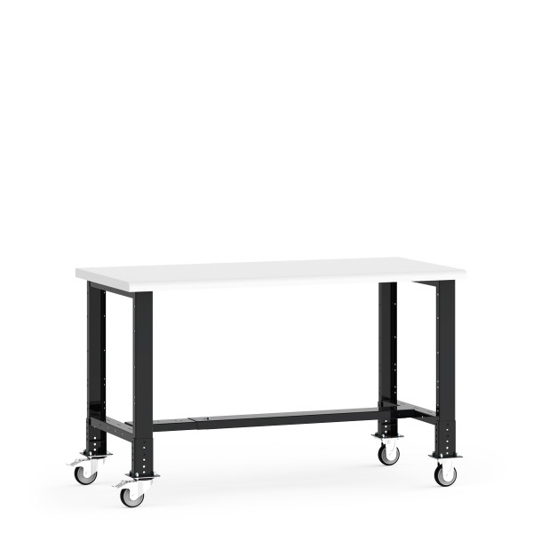 """Mobile Work Bench,  60""""W x 30""""W x 34 5/8""""H, Plastic Laminated Top, Leg Extension/Caster Adapters, 4"""" Casters, Adjustable Footrest By Cleanroom World"""