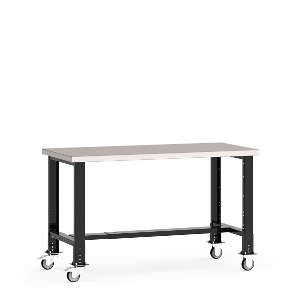 """Mobile Work Bench, 72""""W x 30""""D x 34 7/8"""" Stainless Steel Top, Open Leg, Leg Extension/Caster Adaptors, 4"""" Casters, Adjustable Footrest By Cleanroom World"""