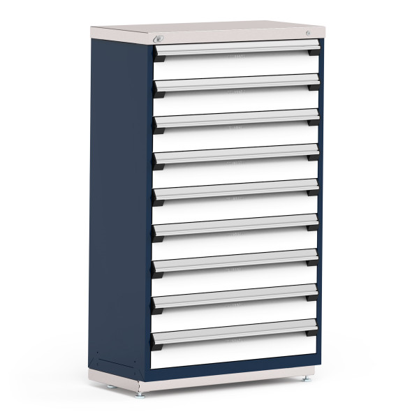 """Stationary Cabinet, 36""""W x 18""""D x 60""""H, Stainless Steel Cover, (9) 6""""H Drawers, Heavy Duty 16 Gauge Construction By Cleanroom World"""