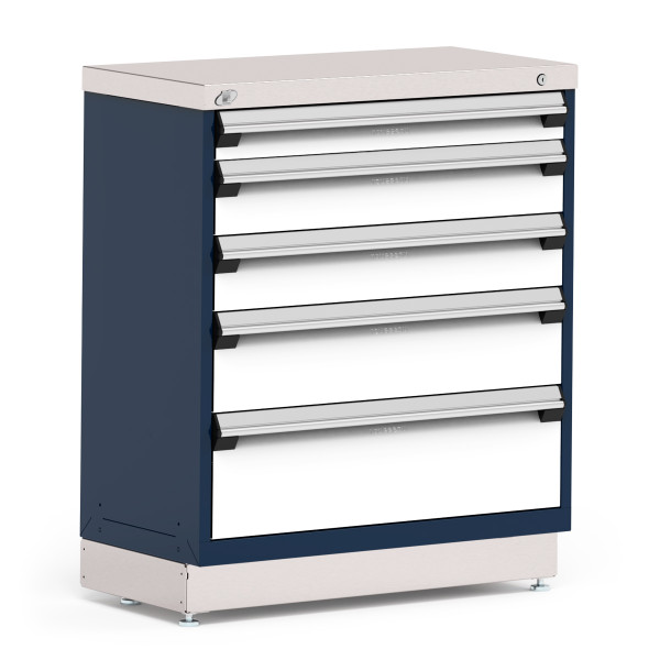 """Stationary Cabinet, 36""""W x 18""""D x 42""""H, Stainless Steel Cover, 5 Drawers, Heavy-Duty 16 Gauge Construction, Navy By Cleanroom World"""