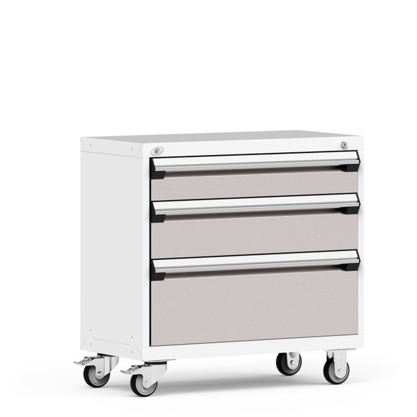 """Mobile Cabinet, 3 Drawers, 36""""W x 18""""D x 35 1/8""""H, 4"""" Casters, Heavy-Duty 16 Gauge Construction By Cleanroom World"""