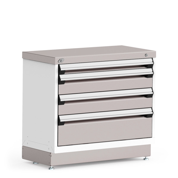 """Stationary Cabinet, 36""""W x 18""""D x 32""""H, Stainless Steel Cover, 4 Drawers, Heavy-Duty 16 Gauge Construction By Cleanroom World"""