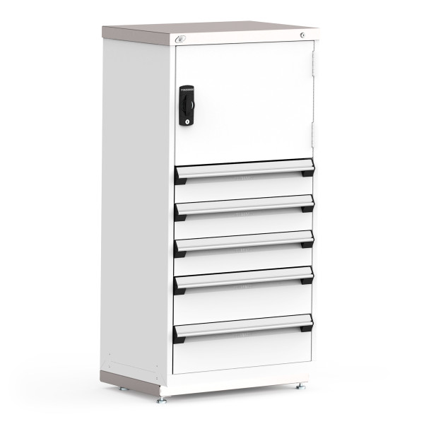 """R Stationary Cabinets, 36""""W x 18""""D x 60""""H, Stainless Steel Cover, 5 Drawers, Heavy-Duty 16 Gauge Construction By Cleanroom World"""