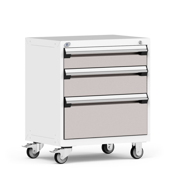 """Stationary Cabinet, 30""""W x 21""""D x 35 1/8""""H, 3 Drawers, 4"""" Casters, Heavy-Duty 16 Gauge Construction By Cleanroom World"""