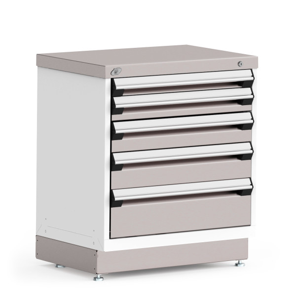 """Stationary Cabinet, 30""""W x 21""""D x 34""""H, Stainless Steel Cover, 5 Drawers, Heavy-Duty 16 Gauge Construction By Cleanroom World"""