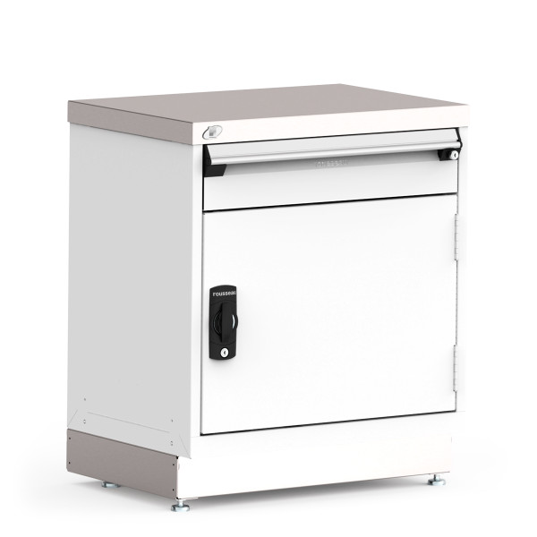 """Stationary Cabinet, 30""""W x 21""""D x 34""""H, 1 Central Keyed Locking Drawer and Cabinet By Cleanroom World"""
