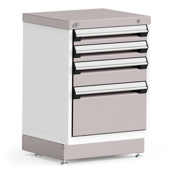 """Stationary Cabinet, 24""""W x 21""""D x 34""""H, Stainless Steel Cover, 4 Drawers, Heavy-Duty 16 Gauge Construction By Cleanroom World"""