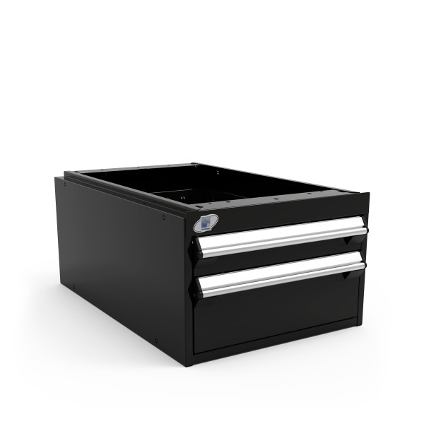"""Light-Duty Drawer Unit, 18""""W x 27""""D x 12""""H, 2 Drawer, Stainless Steel, Black By Cleanroom World"""