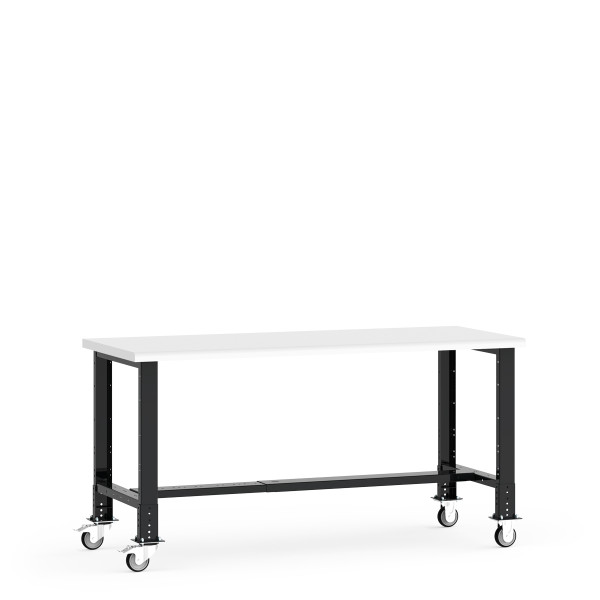 """Mobile Work Bench,  72""""W x 30""""W x 34 5/8""""H, Plastic Laminated Top, Leg Extension/Caster Adaptors, 4"""" Casters, Adjustable Footrest By Cleanroom World"""