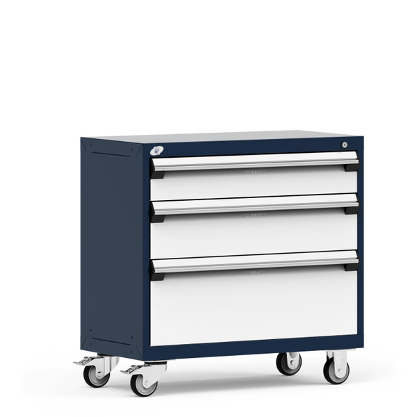 """R Mobile Cabinet, 3 Drawers, 36""""W x 18""""D x 35 1/8""""H, Central Keyed Locking For All Drawers, 4"""" Casters By Cleanroom World"""