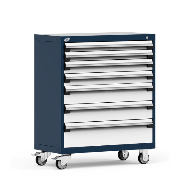 """Mobile Cabinet, 7 Drawers, 36""""W x 18""""D x 43 1/8""""H, 4"""" Swivel Casters, Navy By Cleanroom World"""