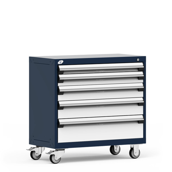 """Mobile Cabinet, 36""""W x 18""""D x 35 1/8""""H, 5 Drawers, 4"""" Swivel Casters, Heavy-Duty 16 Gauge Construction By Cleanroom World"""